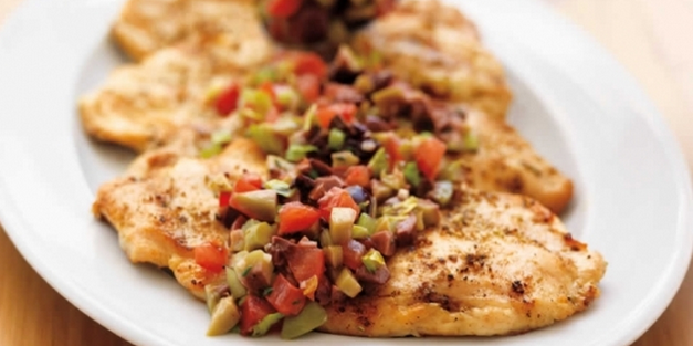 Chicken Paillards with Tomato and Olive Relish