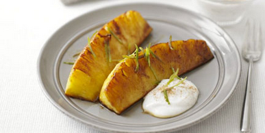 Spiced Glazed Pineapple with Cottage Cheese