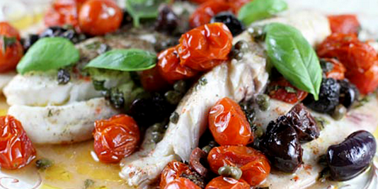 Italian Baked Fish with Olives and Tomatoes