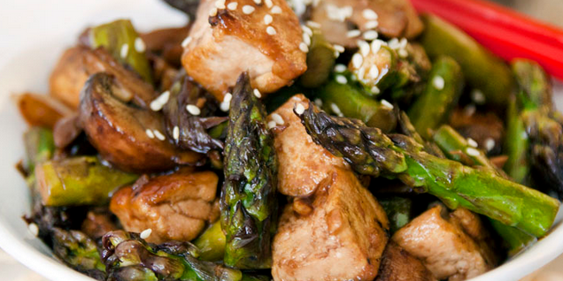 Tofu and Asparagus Stir-Fry with Rice Noodles