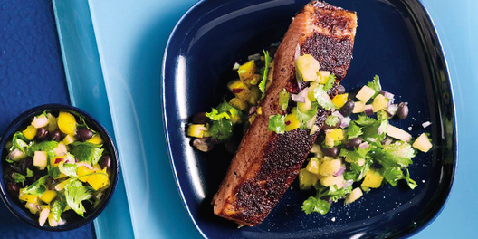 Jamaican Jerk Salmon with Caribbean Salsa