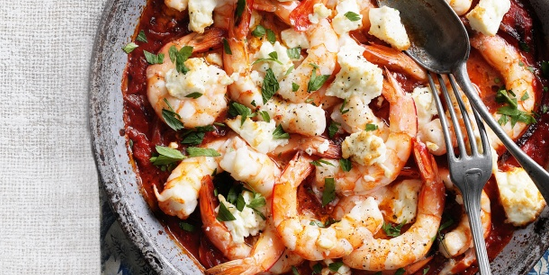 Shrimps Saganaki with Feta