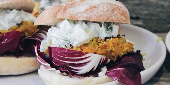 Carrot Tahini Burger with Radicchio & Tzatziki