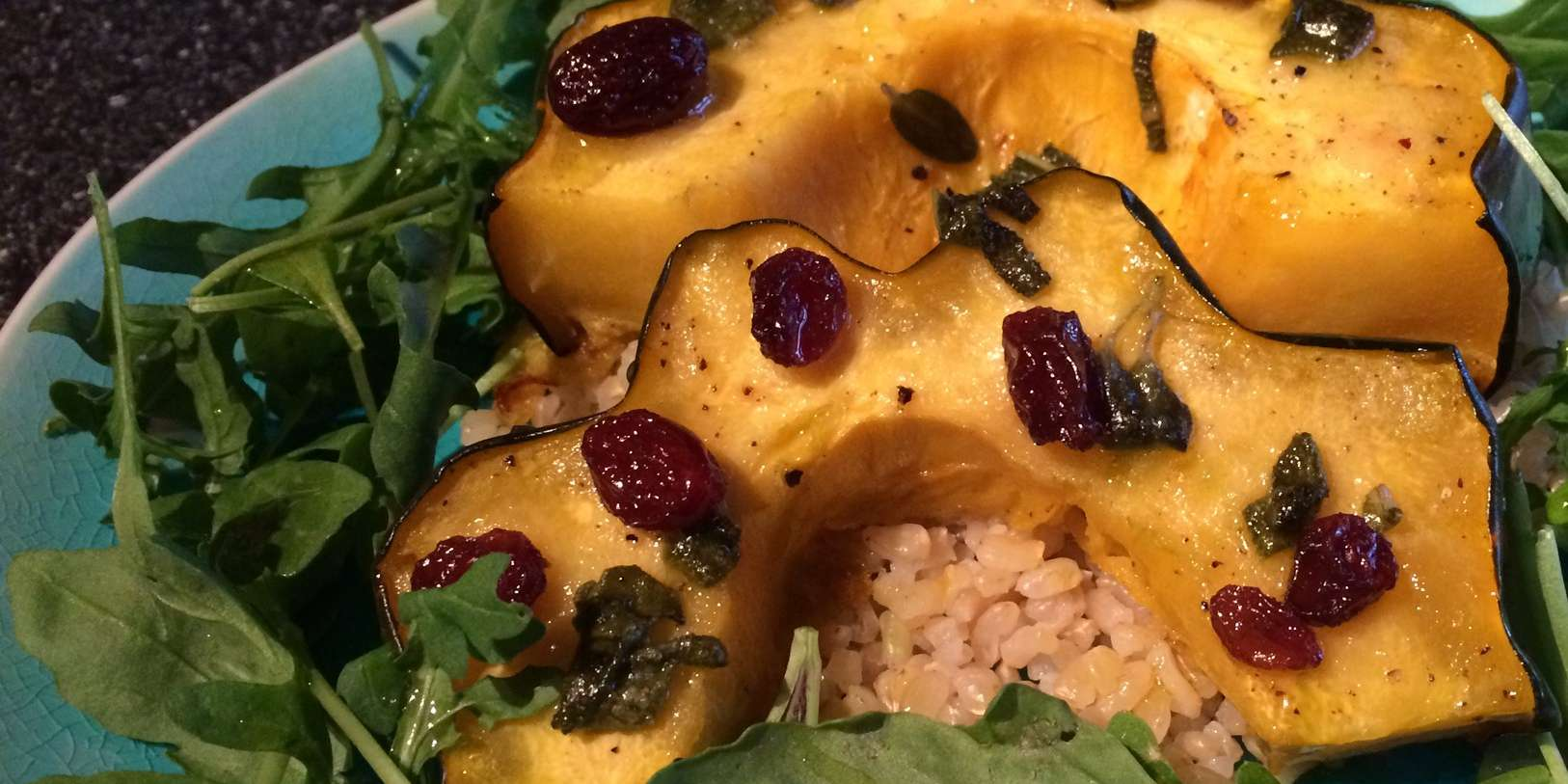 Roasted Acorn Squash with Sage Butter and Raisins