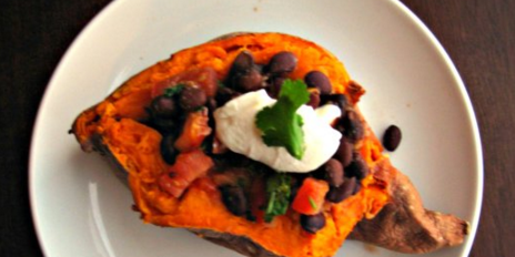 Sweet Potato with Warm Black Bean Salad