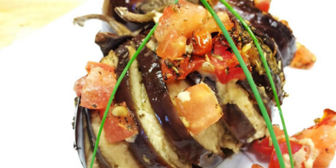 Baby Eggplant Stuffed with Hummus and Tomatoes