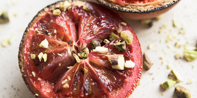 Broiled Blood Orange with Pistachios