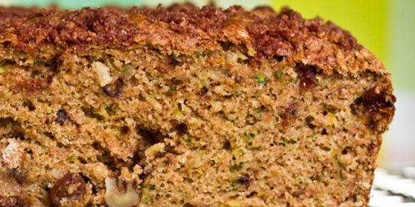Oil-Free Zucchini Walnut Raisin Loaf