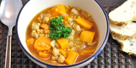 Crock Pot Lentil Chickpea Squash Soup