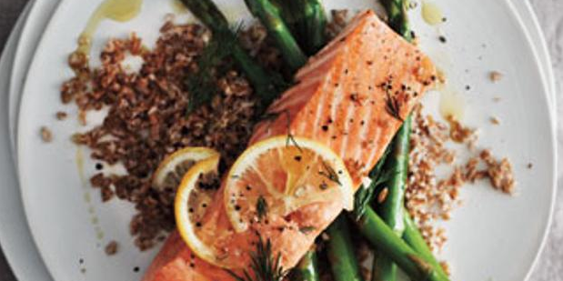 Salmon, Asparagus & Bulgur with Tomato Relish