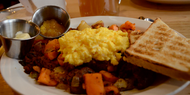 Egg, Toast & Sweet Potato Hash Browns