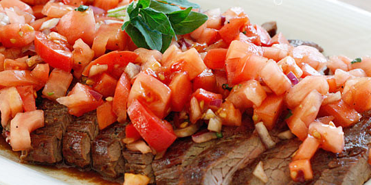 Grilled Flank Steak with Tomatoes & Red Onion