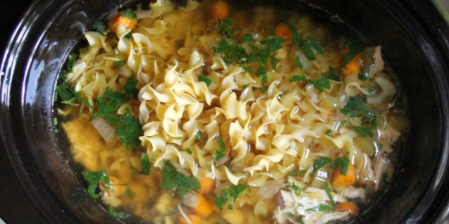 Freezer to Slow Cooker Chicken Noodle Soup