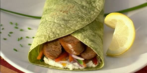 Grilled Vegetable Wrap with Turkey Sausage