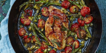 Roasted Chicken with Cherry Tomatoes & Asparagus