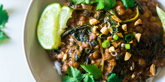 One-Pot Creamy Spinach Peanut Lentils