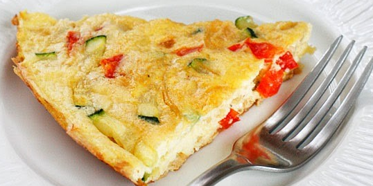 Caramelized Onion, Red Pepper, Zucchini Frittata