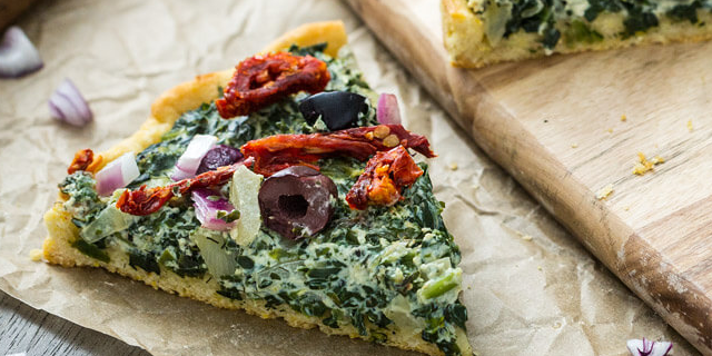 Pizza with Creamed Spinach & Sun-Dried Tomatoes