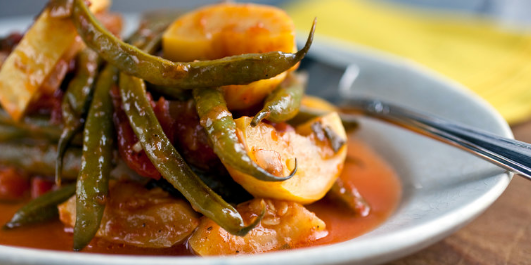 Greek Stewed Green Beans, Yellow Squash & Tomatoes