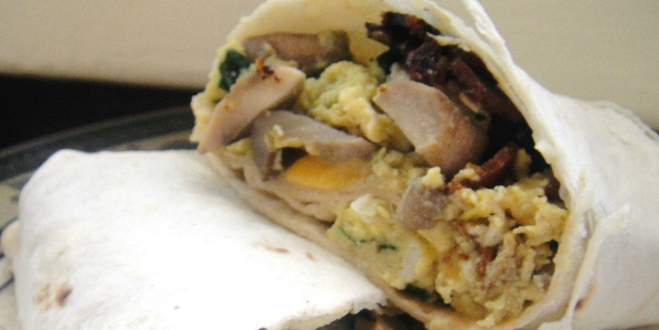 Breakfast Burritos: Mushrooms, Bacon & Spinach