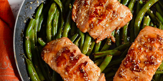 Sesame Glazed Salmon & Green Beans