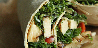 Kale Caesar Salad with Grilled Chicken Wrap