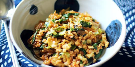 Kimchi Fried Rice with Extra Greens