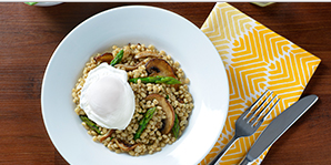 Mushroom and Barley Pilaf with a Poached Egg