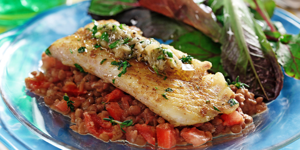 White Fish with Roasted Garlic & Lentil Mash