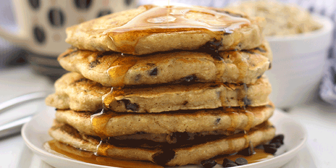 The Fluffiest Oatmeal Chocolate Chip Pancakes