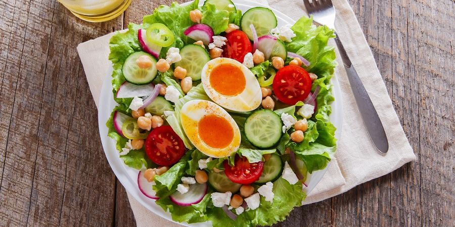 Mixed Green Salad with a Hard-Boiled Egg