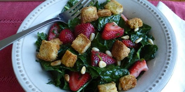 Massaged Kale Salad with Strawberries