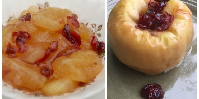 Microwave Baked Apple with Cranberries & Maple