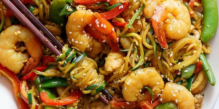 Singapore Zoodle Stir Fry with Chicken & Shrimp