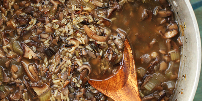 Wild mushroom and Brown Rice Soup
