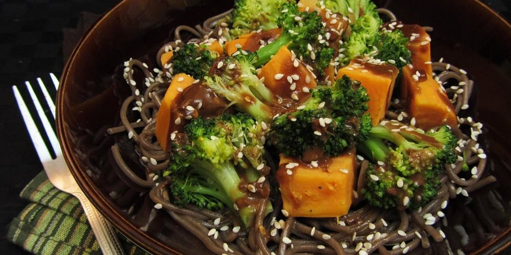 Miso Glazed Sweet Potato and Broccoli Soba Bowl