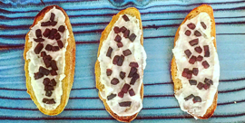 White Bean Crostini Toast with Roasted Beet Bits