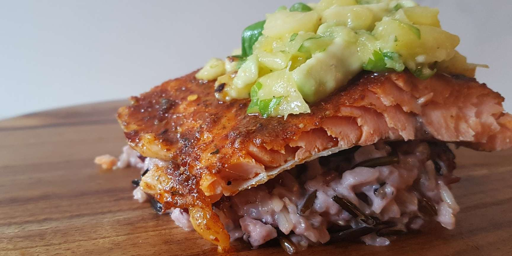 Cajun Trout with Coconut Wild Rice & Salsa