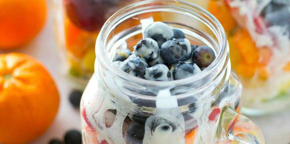 Rainbow Fruit Salad in a Jar