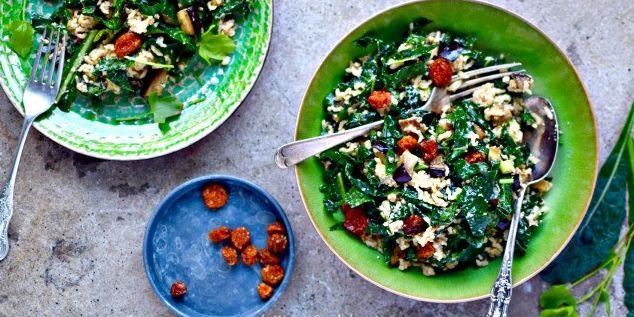 Goldenberry Kale Salad with Tahini Dressing