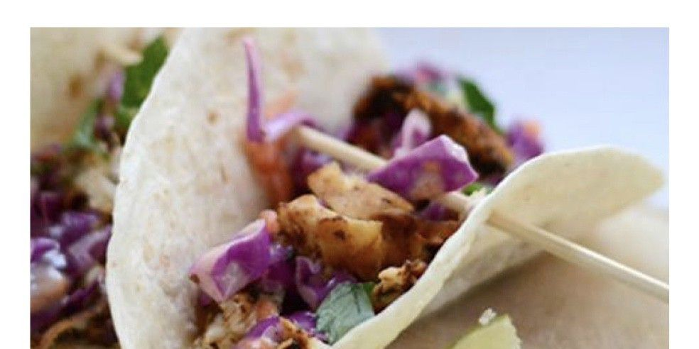 Chicken Tacos with Red Cabbage Slaw