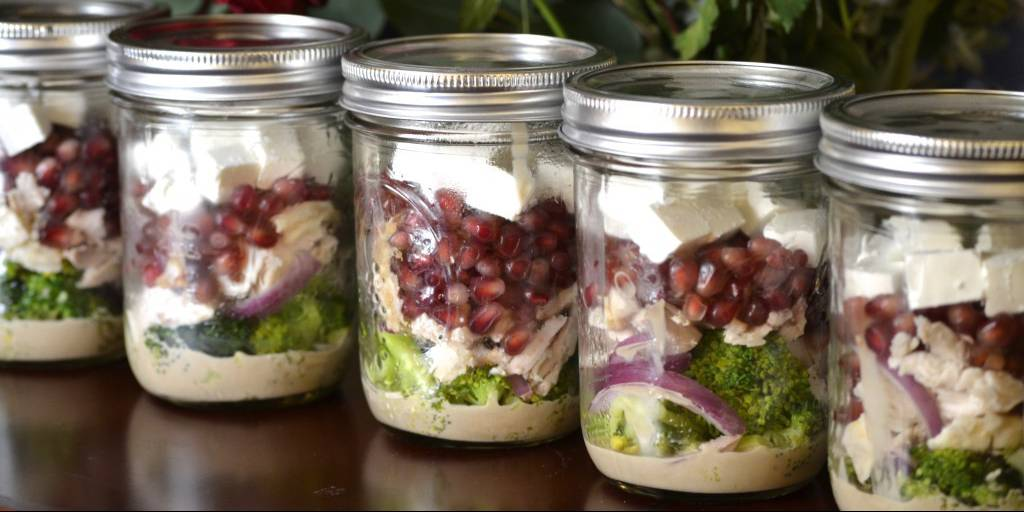 Mason Jar Broccoli Pomegranate Salad