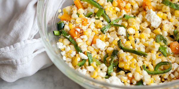 Grilled Corn and Pasilla Pepper Salad