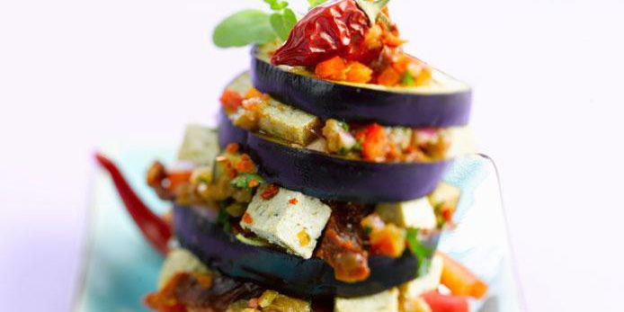 Eggplant Tower with Tofu and Vegetables