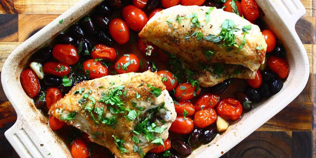 Roasted Chicken with Tomatoes, Olives & Herbs