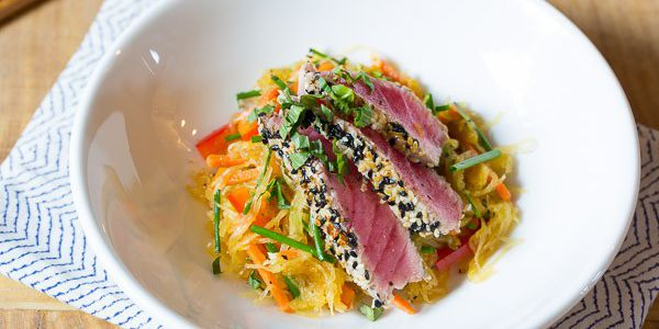 Tuna Steak with Spaghetti Squash Pancakes