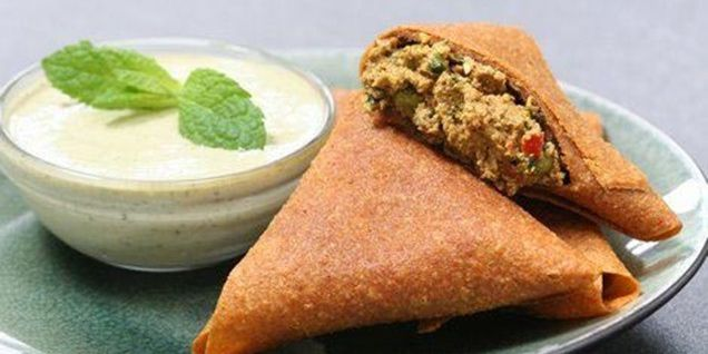 Vegetable Samosas with Cucumber Mint Raita
