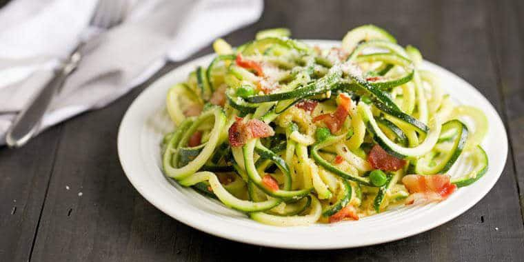 Carbonara with Spiralizer Zucchini Noodles