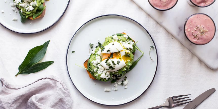 "Sweet Potato ""Toast"" with Avocado, Feta & Eggs"