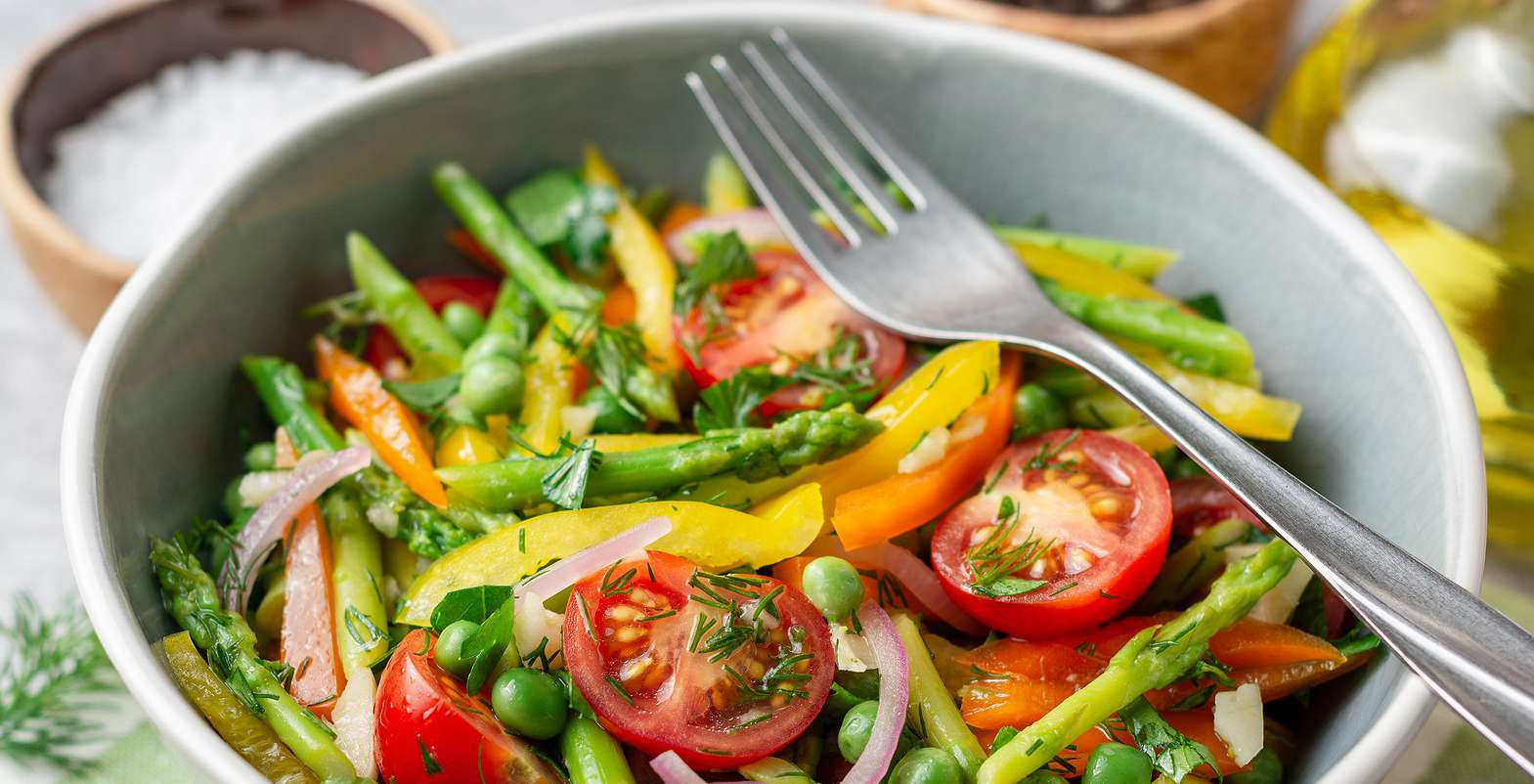 Asparagus, Peas, and Tomatoes